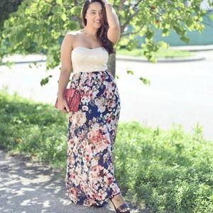 A'GACI Lace Floral Print Strapless Maxi Dress